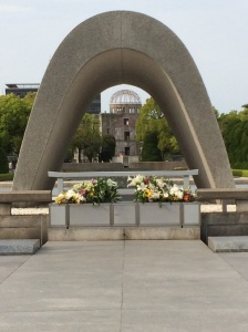 The Memorial in Hiroshima's Peace Park, with the Atomic Dome in the background.